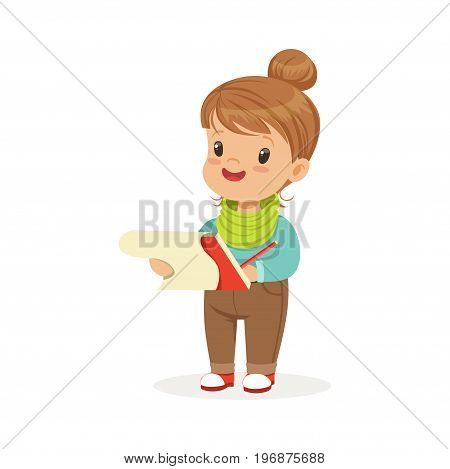 Cute little girl drawing with pencil in notebook, kids creativity, education and child development, colorful character vector Illustration isolated on a white background