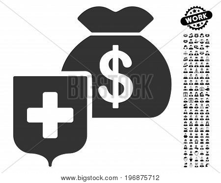 Money Bag Shield icon with black bonus job symbols. Money Bag Shield vector illustration style is a flat gray iconic element for web design, app user interfaces.
