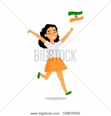 Teenage Indian girl running happily with little tricolor Indian flag, simple cartoon vector illustration isolated on white background. Indian girl running with national tricolor flag