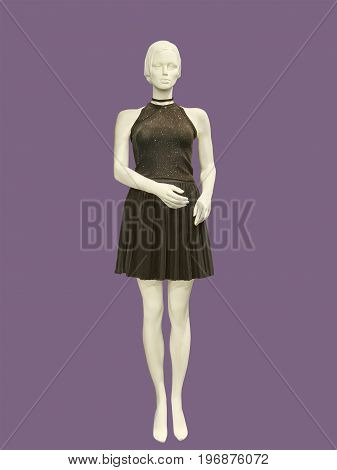 Full-length female mannequin dressed in brown dress isolated. No brand names or copyright objects.
