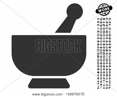 Mortar icon with black bonus work icon set. Mortar vector illustration style is a flat gray iconic symbol for web design, app user interfaces.