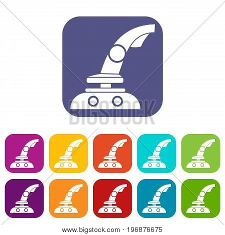 Joystick icons set vector illustration in flat style in colors red, blue, green, and other