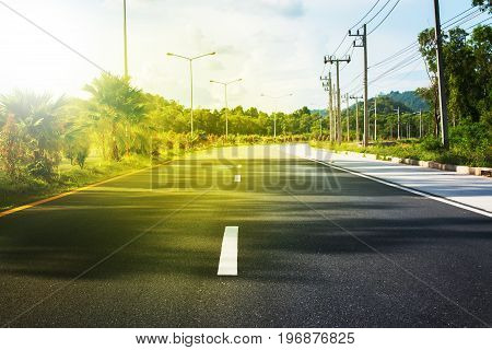 Thai Route Landscape Car Road Marking Line Middle