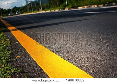Thai Route Landscape Car Road Marking Yellow Line
