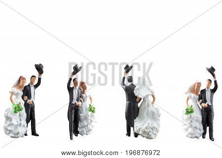 Miniature People Wedding  Isolated On White Background With Clipping Path