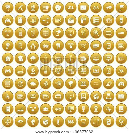 100 network icons set in gold circle isolated on white vector illustration