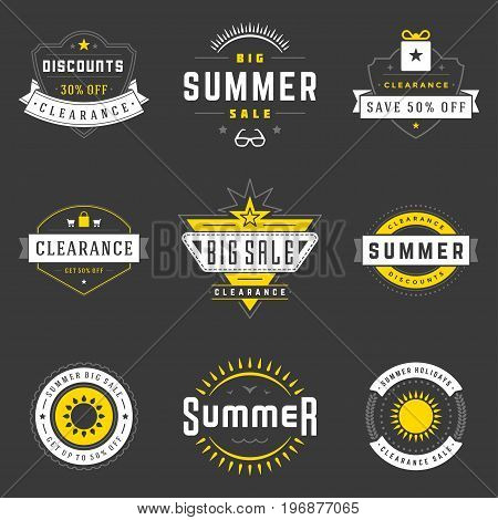 Summer season sale badges and tags design vector retro set for banners, promotional brochures, discount posters, shopping Flyer, clearance Advertising. collection sale objects and icons.