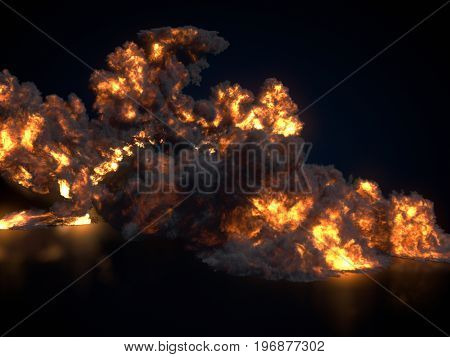 Large fireball isolated on dark background. Close up. 3d rendering