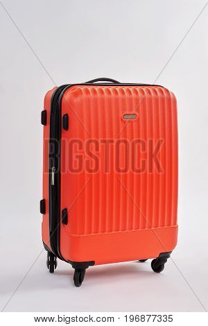 Closed case with baggage isolated. Relocation with packed suitcase. Travelling with modern valise.