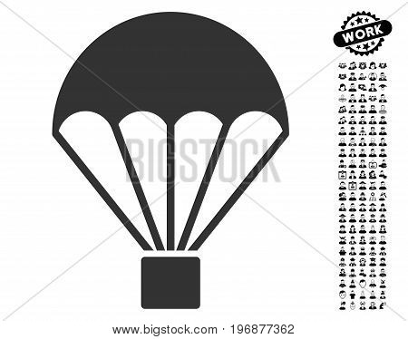 Parachute icon with black bonus professional clip art. Parachute vector illustration style is a flat gray iconic symbol for web design, app user interfaces.