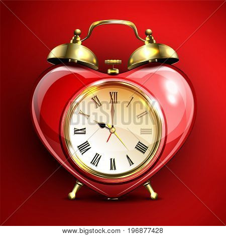 Metal retro style alarm clock in heart form on red background. Vector illustration.