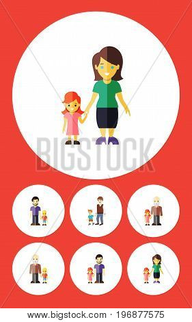 Flat Icon Relatives Set Of Mother, Boys, Son And Other Vector Objects