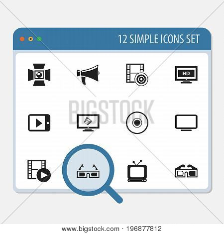 Set Of 12 Editable Movie Icons. Includes Symbols Such As Hd Screen, Display Unit, Bullhorn And More