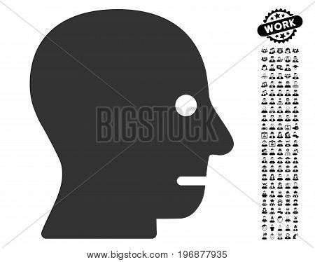 Patient Head icon with black bonus profession pictures. Patient Head vector illustration style is a flat gray iconic element for web design, app user interfaces.