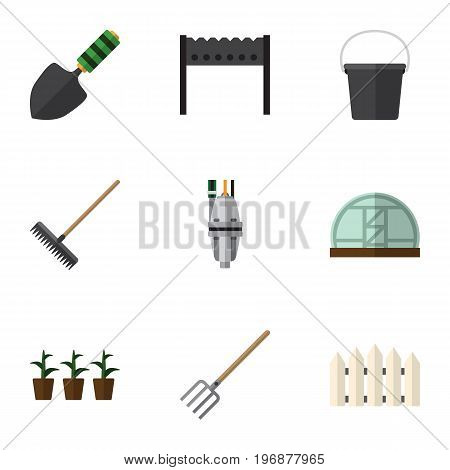 Flat Icon Farm Set Of Barbecue, Hay Fork, Flowerpot And Other Vector Objects