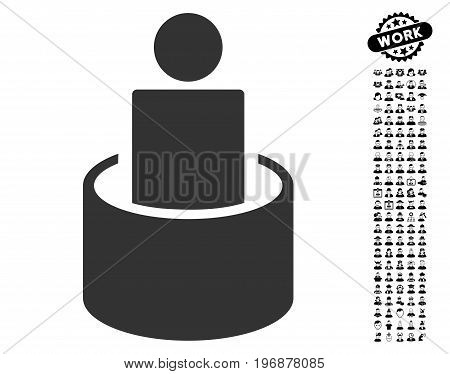 Patient Isolation icon with black bonus profession clip art. Patient Isolation vector illustration style is a flat gray iconic symbol for web design, app user interfaces.