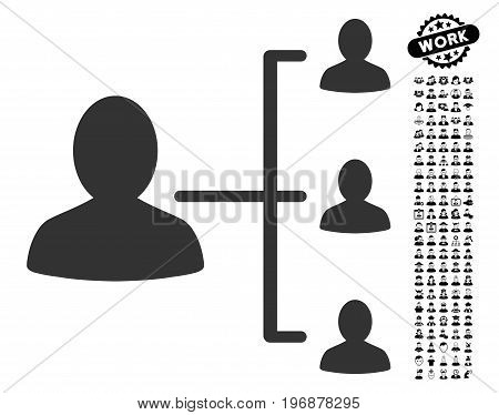 Patient Relations icon with black bonus men clip art. Patient Relations vector illustration style is a flat gray iconic symbol for web design, app user interfaces.