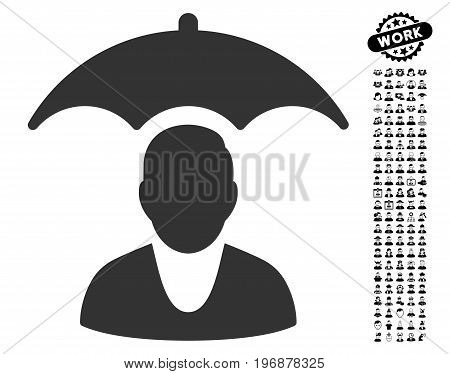 Patient Safety Umbrella icon with black bonus profession icon set. Patient Safety Umbrella vector illustration style is a flat gray iconic element for web design, app user interfaces.