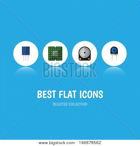 Flat Icon Device Set Of Receptacle, Transducer, Unit And Other Vector Objects