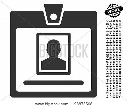 Person Badge icon with black bonus profession symbols. Person Badge vector illustration style is a flat gray iconic symbol for web design, app user interfaces.