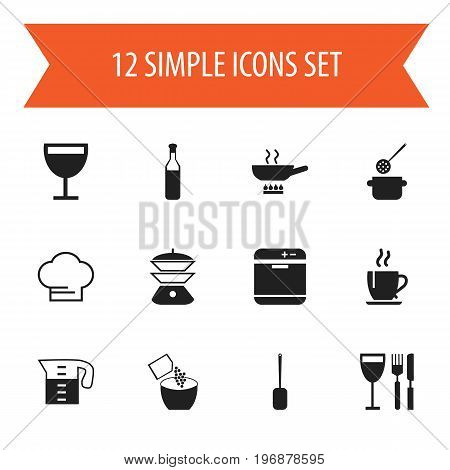 Set Of 12 Editable Kitchen Icons. Includes Symbols Such As Saltshaker, Water Jug, Beer And More