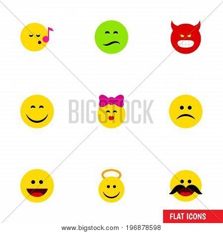 Flat Icon Face Set Of Smile, Descant, Laugh And Other Vector Objects