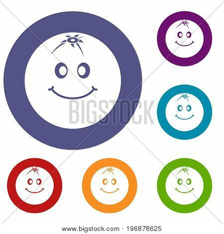Smiling fruit icons set in flat circle red, blue and green color for web