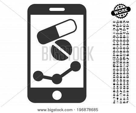 Pharmacy Online Report icon with black bonus people pictures. Pharmacy Online Report vector illustration style is a flat gray iconic symbol for web design, app user interfaces.