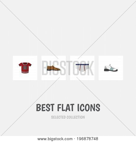Flat Icon Garment Set Of Sneakers, Male Footware, T-Shirt And Other Vector Objects