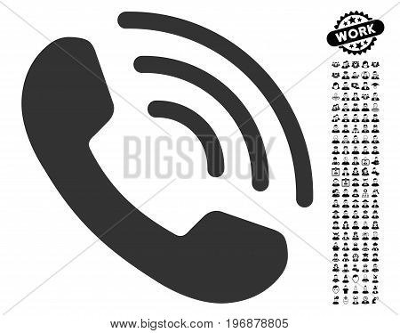 Phone Call icon with black bonus men design elements. Phone Call vector illustration style is a flat gray iconic element for web design, app user interfaces.