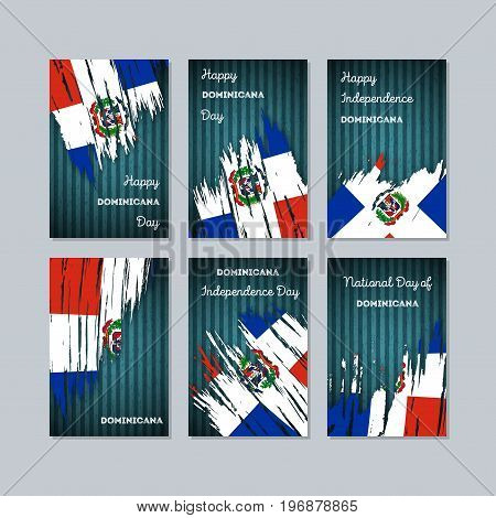 Dominicana Patriotic Cards For National Day. Expressive Brush Stroke In National Flag Colors On Dark