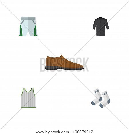 Flat Icon Garment Set Of Trunks Cloth, Foot Textile, Singlet And Other Vector Objects