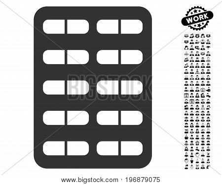 Pill Blister icon with black bonus work icon set. Pill Blister vector illustration style is a flat gray iconic symbol for web design, app user interfaces. poster