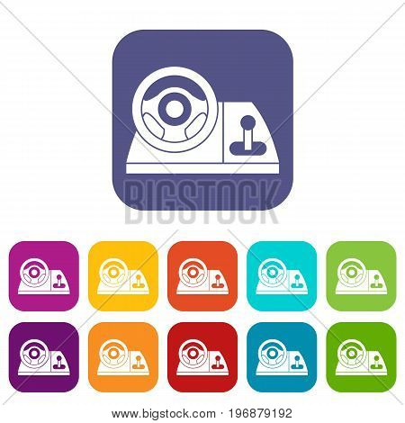 Computer steering wheel icons set vector illustration in flat style in colors red, blue, green, and other