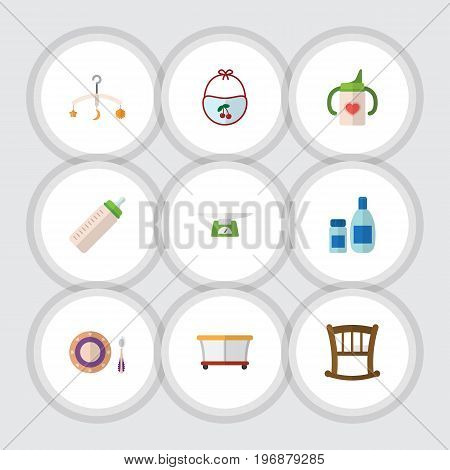 Flat Icon Child Set Of Cream With Lotion, Feeder, Baby Plate And Other Vector Objects