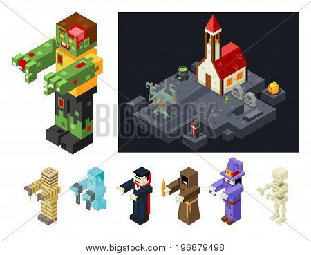 Halloween Monsters Icons Set Curse Evil Flat Isometric Design 3d Game Vector Illustration