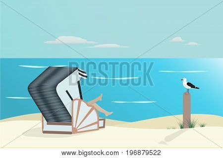 Summertime. North Sea at the beach with girl in roofed wicker beach chair and sea gull.