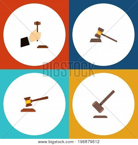 Flat Icon Court Set Of Law, Hammer, Court And Other Vector Objects