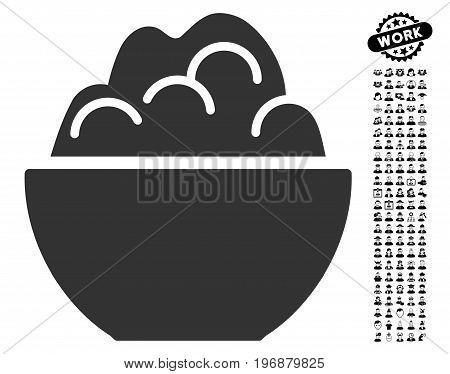 Porridge icon with black bonus profession pictograms. Porridge vector illustration style is a flat gray iconic symbol for web design, app user interfaces.