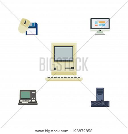 Flat Icon Computer Set Of Processor, Technology, Computing And Other Vector Objects