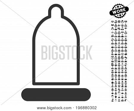 Preservative icon with black bonus people clip art. Preservative vector illustration style is a flat gray iconic element for web design, app user interfaces.