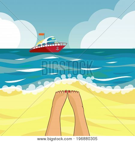 Beach and boat. The seascape. Speedboat on the horizon. Vector illustration.