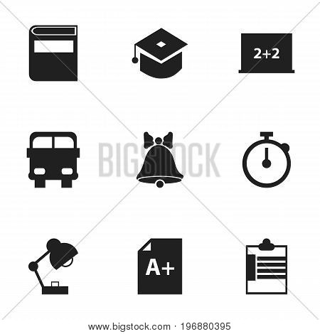 Set Of 9 Editable Education Icons. Includes Symbols Such As Lighting, Timer, Supervision List And More