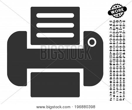 Print icon with black bonus men clip art. Print vector illustration style is a flat gray iconic element for web design, app user interfaces.