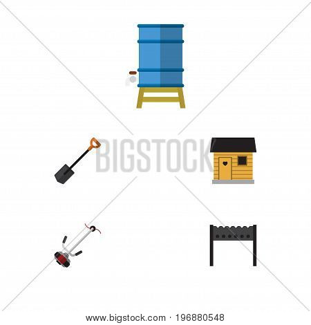 Flat Icon Dacha Set Of Spade, Container, Grass-Cutter And Other Vector Objects