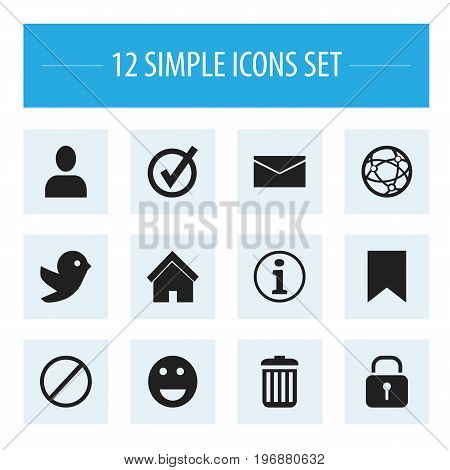 Set Of 12 Editable Internet Icons. Includes Symbols Such As Deny, Home, Dove And More