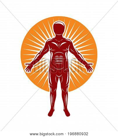 Vector illustration of human being stands on starburst background. The concept of people identity.