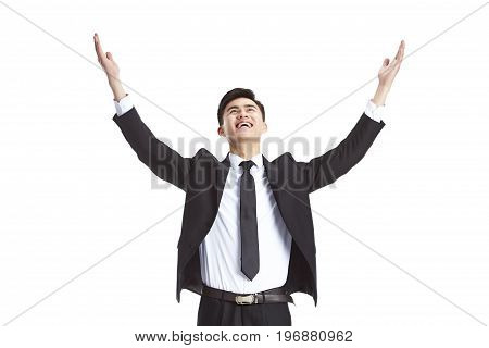 young asian businessman welcoming falling fortune from sky studio shot isolated on white background.