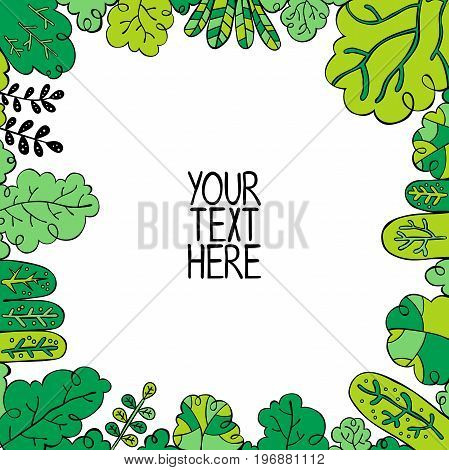 Your text here. Square frame - forest. Isolated vector objects on white background.