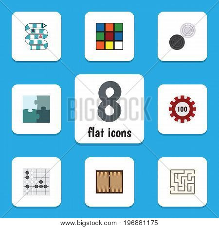 Flat Icon Play Set Of Poker, Gomoku, Chequer And Other Vector Objects